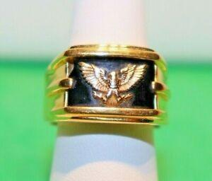 Franklin Mint 14K Eagle Sterling Onyx (Chipped) Men's Ring Size 9 19.6 Gr