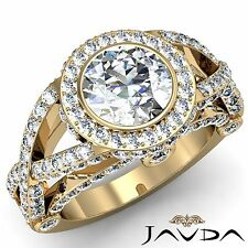 Gia F Vs2 18k Yellow Gold 2.97ct Round Diamond Engagement Halo Cross Shank Ring