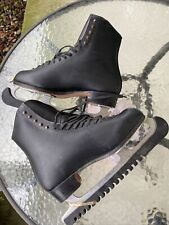 New listing Vintage Riedell Black Leather Boot Ice Skates - Size 10 Mk Sheffield blade