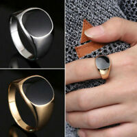 Solid Polished Stainless Steel Band Biker Men Signet Ring Gold Silver size 8-11