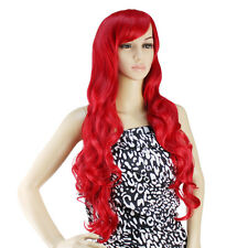 "32"" Long Heat Resistant Big Spiral Curl Red Cosplay Wig Free Shipping 80cm"