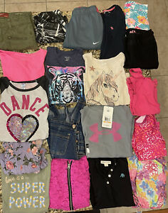 Huge Lot Girls Size 7/8 7 8 Name Brand Clothing; Justice,CP,Under Armour,Nike, +