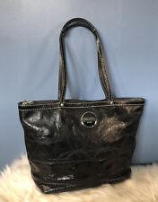 COACH Signature Stitch Black Patent Leather Tote Shoulder Handbag H1193-F15142