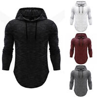 Casual Basic Hoodie Hooded Muscle T-shirt Shirts Slim Long Sleeve Men's Fit Tops