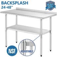 """Commercial 24""""x48"""" Restaurant Prep Work Table w/ Backsplash Stainless Steel"""