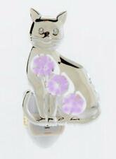 Silver Plated Cat Nightlight With Amethyst Swarovski Crystals - Bathroom Kitchen