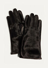 Karen Millen Black Pony Collection Printed Leather Gloves, Size: S/M