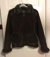 Denim &Co ~ Women's ~ Chocolate Brown Faux Suede Jacket (16) Faux fur lining