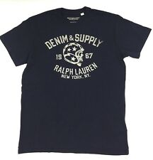 $195 POLO RALPH LAUREN Men BLUE SKULL LOGO BRAND CREW NECK FIT T SHIRT TEE M