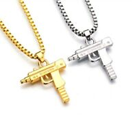Supreme Uzi Machine Gun Pistol Necklace Pendant Chain Gold Silver Plated Hip Hop