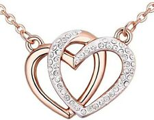 """""""Guardian of Love"""" Double-Heart Rose Gold Crossover Pendant Necklace"""