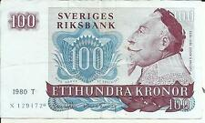 Sweden 100 Kronur 1980 P 54. Vf Condition. 5Rw 07Feb
