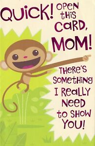 American Greetings Fold-Out Birthday Card Quick! Open This Card Mom! I Love You!