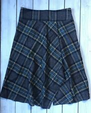 Hobbs Grey Green Check Wool Wrap Look Kilt Midi Skirt Size 8 - 10 B23