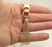 """32"""" Technibond Panther Head Tassel Chain Necklace 14K Yellow Gold Clad Silver"""