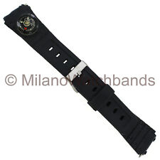 18mm Kreisler Mens Black Rubber PVC Compass Sports Strap Watch Band