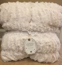 """NEW Pottery Barn Teen OVERSIZED Faux Fur Bunny Ruched 60x80"""" Throw IVORY"""