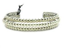 John Hardy Women's Bedeg Silver Three Row Cuff Bracelet Size Medium NWT