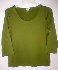"Christopher & Banks lime green nylon & spandex  3/4 sl knit top M 36"" unworn EC"