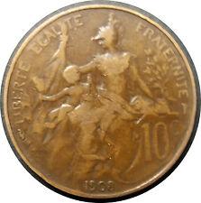 10c France Coin  1908 -  Republique Francaise • Liberte Egalite Fraternite