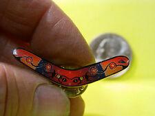 Vintage Multi Colored Designed Boomarang  Enameled Pin, Lapel Pin