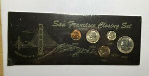 1954 S,1955 S  SAN FRANCISCO MINT CLOSING SET / 5 BU COINS IN ORIGINAL PACKAGING