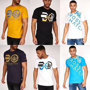 Men's Crosshatch T-Shirt Short Sleeve Crew Neck 100% Cotton Casual Summer Top