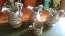 3 Grey with Moulded Flowers on Sides JUG!! for Water, Cream or Milk? + Cup!
