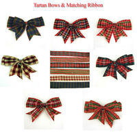 "1.2.5.10.  x 120mm (4 1/2"" wide) Giant Double Bows Tartan Ribbon Bows Tails"