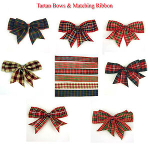 """1.2.5.10.  x 120mm (4 1/2"""" wide) Giant Double Bows Tartan Ribbon Bows Tails"""