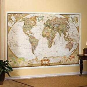 """National Geographic World Mural Map Antique Style 116"""" x 77"""""""