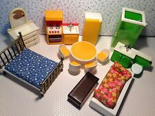 Vintage  Fisher Price Dollhouse Furniture Whole House of Furniture 14 pieces
