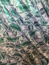 White Hologram Benjamin's $100 Printed On A 2-way Stretch Spandex-by The Yard-