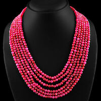 552.65 CTS EARTH MINED 6 STRAND EXCLUSIVE RICH RED RUBY ROUND BEADS NECKLACE