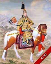 CHINESE MANCHU EMPEROR Qianlong IN ARMOR ON HORSE CANVAS GICLEE 8X10 ART PRINT