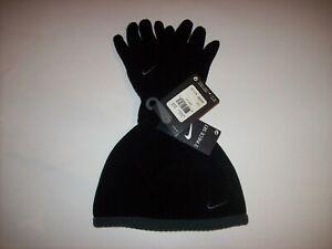 Nike Boys Cold Weather Beanie Glove Set Ribbed Edge Black/Grey Swoosh 4-7 New