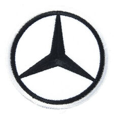 Mercedes Benz Embroidered Patch Applique Embroidery Emblem Mark 60x60mm White