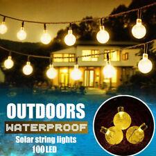 39ft 100 LED Solar String Ball Lights Outdoor Waterproof Warm White Garden Decor