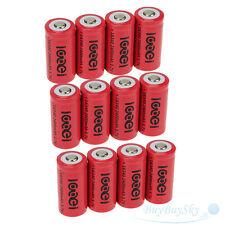 12x2400Mah 3.7V 16340 CR123A Li-ion Rechargeable Battery Cell Flashlight camera