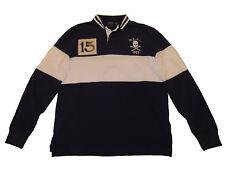 Polo Ralph Lauren Navy Blue XXL Skull Crossbones Long Sleeve Rugby Shirt 2XL