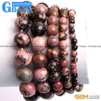 "Handmade Black Rhodonite Beaded Stone Energy Healing Bracelet Free Shipping 7"""