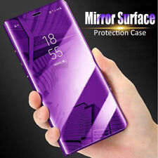 For Samsung Galaxy Note 10 Plus Clear View Mirror Smart Flip Stand PC Case Cover