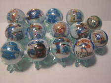 PABST BLUE RIBBON BEER 5/8 size glass marbles collection lot with stands