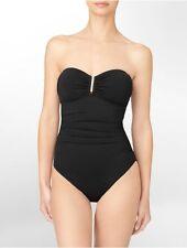 Calvin Klein One Piece Sz 8 Black Silver Ruched Bandeau Swimsuit CG5MS002