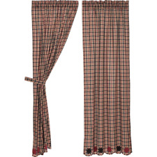 CARSON STAR Scalloped Panel Curtain Set of 2 Plaid Black Red Stars VHC Brands