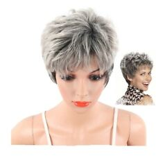 Short Grey Pixie Wig For Women Short Curly Hair Synthetic Pixie Wig Cosplay JI1