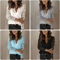 Womens Loose Long Sleeve Lace Floral Hollow out Lace Casual Blouse T-Shirt Tops