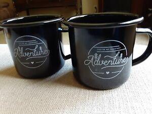"Set Of 2 Camp Tin Mugs ""You're My Greatest Adventure"" Black"