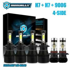 4Side H7+H7+9006 LED Headlight Fog Kit for BMW 330Ci 325Ci 01-06 525i 530i 04-07
