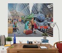 3D Train Station ZHU154 Wall Stickers Wall Murals Wallpaper Trevor Mitchell Amy